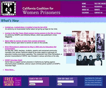California Coalition for Women Prisoners home page
