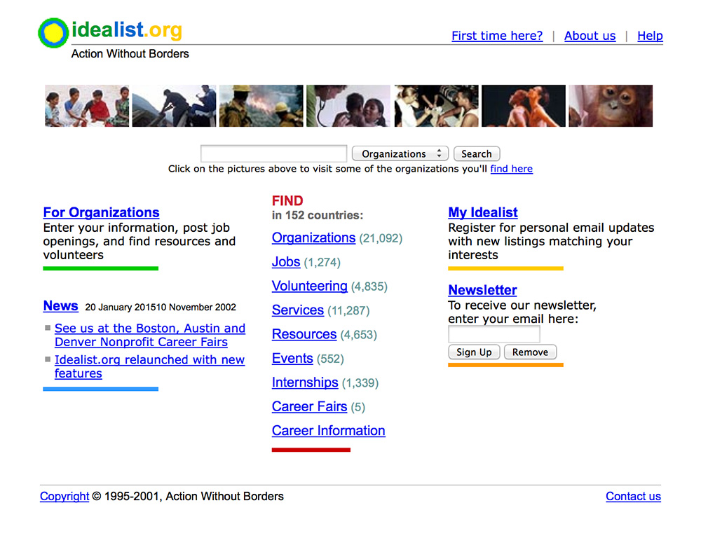 Idealist home page