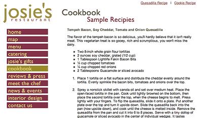 Josie's East Sample Recipe