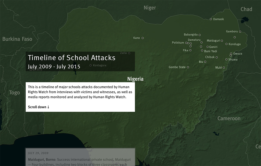 Screenshot of scrolling timeline of school attacks by Boko Haram, July 2009 - February 2016