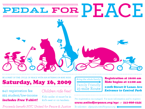 United for Peace and Justice - Pedal for Peace Flyer