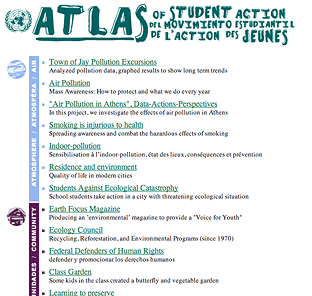Atlas of Student Action for the Planet project list