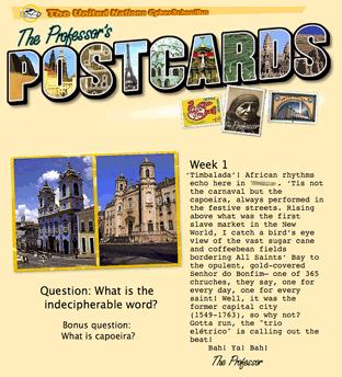 Professor's postcard quiz