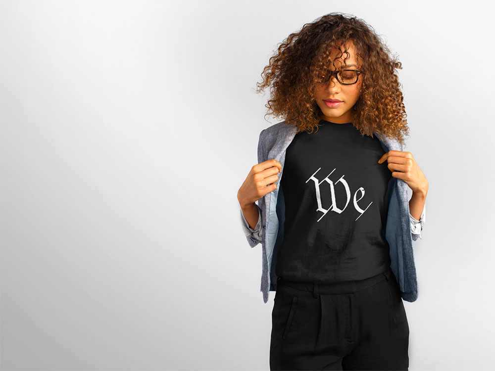 We, the T-Shirt, worn by a women model