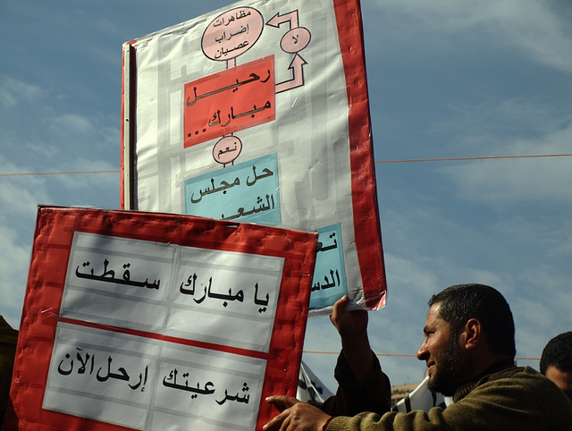 Egypt Protester with Infographic Sign