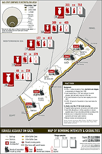 Gaza deaths map