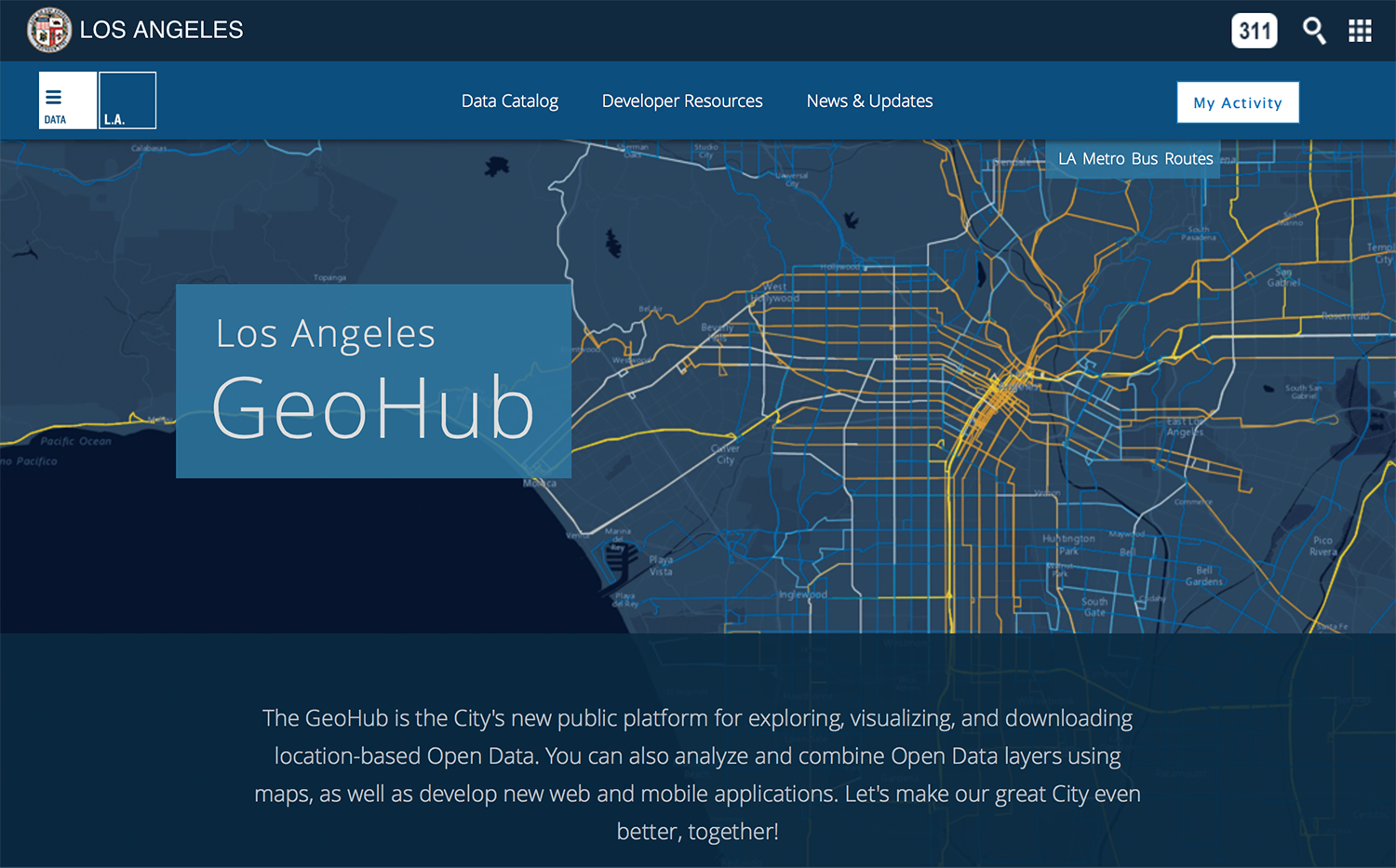 Los Angeles Geohub home page