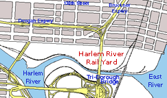 Map showing location of the Harlem River Rail Yard