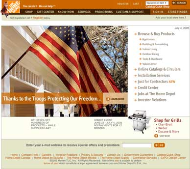 Home Depot home page, July Fourth
