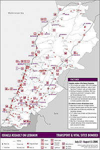 Lebanon transport bombing map