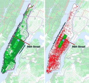 Map of WiFi vs Income in Manhattan