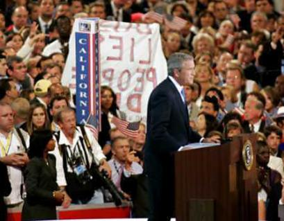 Protester during Bush's speech