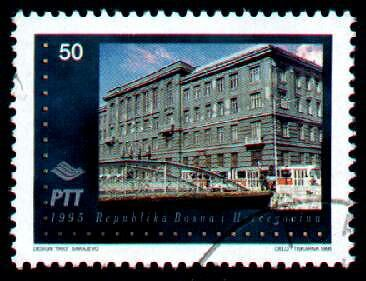 Stamp of post office destroyed in Sarajevo