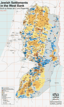 Map of settlements in the West Bank